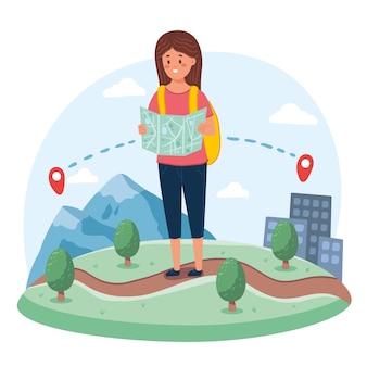 Frau, die ein lokales tourismuskonzept der karte betrachtet