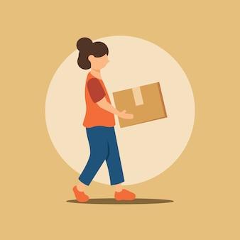 Frau, die ein paket im flachen design liefert
