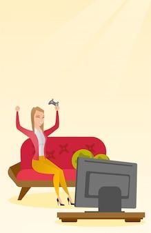 Frau, die ein videospiel spielt