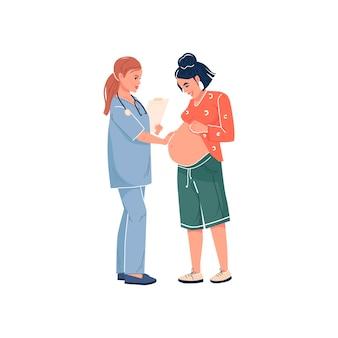Frau, die eine babyarztuntersuchung erwartet, lokalisierte vektorillustration