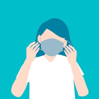 Frau, die eine chirurgische maske aufsetzt, bewusstsein für covid-19
