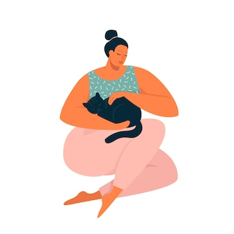 Frau, die eine katzenillustration im vektor umarmt.