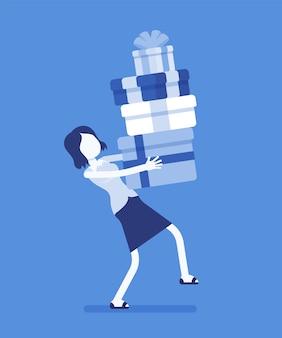 Frau, die einen haufen geschenkboxen hält. freundin, die sich um einen beeindruckenden stapel weihnachtsgeschenke kümmert, die mit bändern für besondere anlässe oder ereignisse verpackt sind. illustration mit gesichtslosen zeichen.