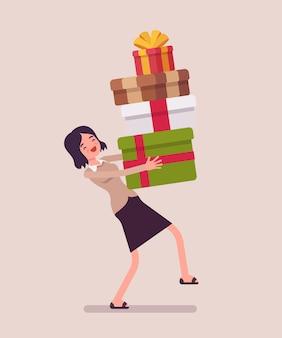 Frau, die einen haufen geschenkboxen hält