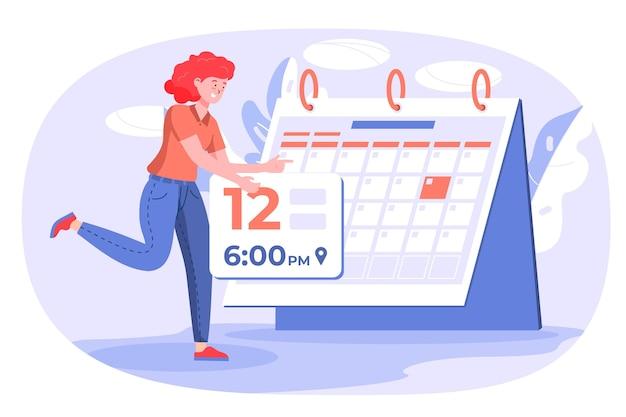 Frau, die einen kalender verwendet, um sich an einen termin zu erinnern