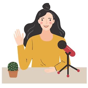 Frau, die einen podcast aufzeichnet, voice over. junge dame, die mit mikrofon spricht. hand gezeichnete trendige illustration.