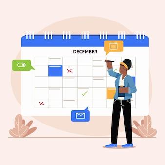 Frau, die einen termin auf kalender gebucht illustriert