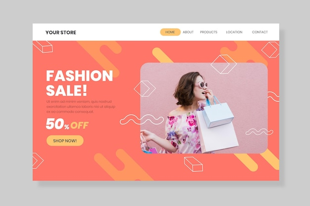 Frau, die einkaufstaschen-modeverkaufslandeseite hält