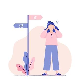 Frau, die entscheidung trifft. frau durch harte wahl verwirrt. richtungszeichen. schwierige wahl, gleichgewichtssuche, entscheidungsfindung. ja oder nein. vektor-illustration