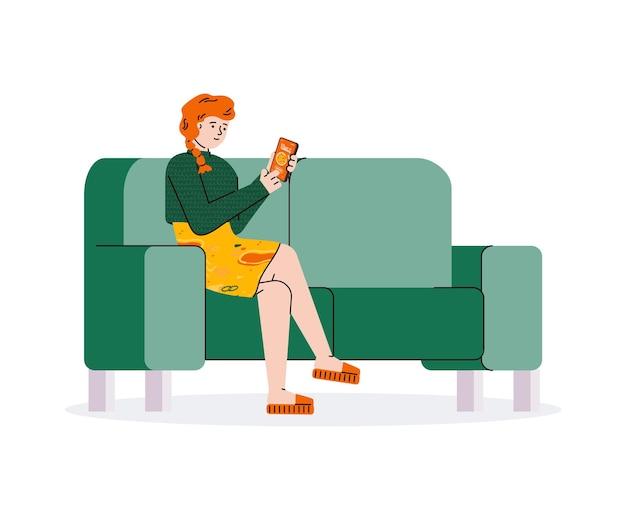 Frau, die essen online von zu hause aus bestellt, sofamädchen, das eine pizzabestellung in der app aufgibt