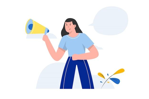 Frau, die etwas mit einem megaphon schreit