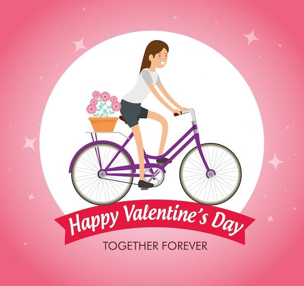 Frau, die fahrrad fährt, um valentinstag zu feiern