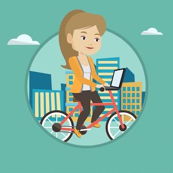 Frau, die fahrrad in der stadt reitet.