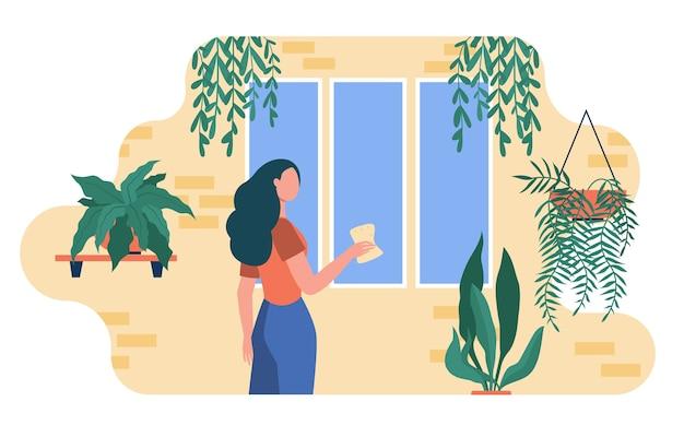Frau, die fenster unter hauptpflanzen wäscht. zimmerpflanzen, gewächshaus, flache illustration des öko-innenraums.