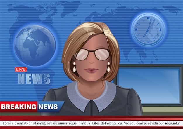 Frau, die fernsehnachrichten in der luft führt. aktuelle nachrichten design. junge tv-nachrichtensprecherin. nachrichtensprecher im studio des fernsehsenders.