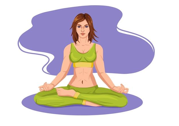 Frau, die fitnes yoga-gymnastikgymnastik übt. banner mit illustration der frau, die yoga oder pilates übung auf matte tut. frau, die übung macht. junges mädchen stehend dehnungshaltung illustration