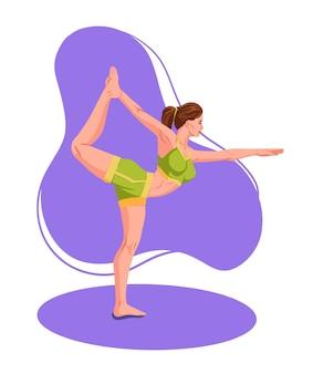 Frau, die fitnes yoga-gymnastikgymnastik übt. junges mädchen stehend streckend