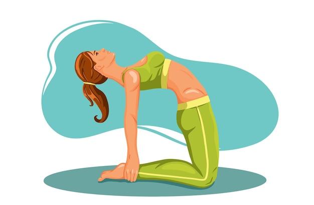 Frau, die fitnes yoga-gymnastikgymnastik übt.