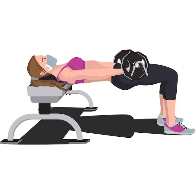 Frau, die fitness mit bankdrücken im fitnessstudio tut