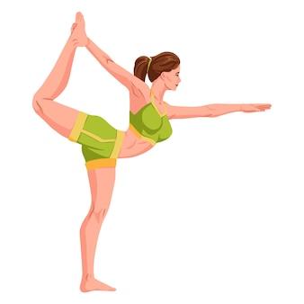 Frau, die fitness-yoga-gymnastik praktiziert. banner mit illustration einer frau, die yoga oder pilates auf der matte macht. frau, die übung macht. junges mädchen stehend stretching haltung vector illustration
