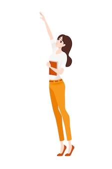 Frau, die freizeitkleidung trägt, hält das buch und steht auf zehenspitzen und versucht, die flache vektorgrafik des cartoon-charakter-designs zu erreichen, die auf weißem hintergrund isoliert ist.