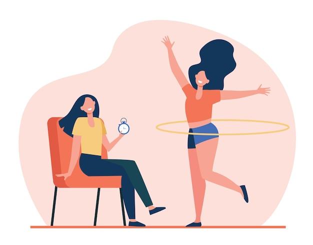 Frau, die freundin mit hula hoop hilft, körper zu trainieren