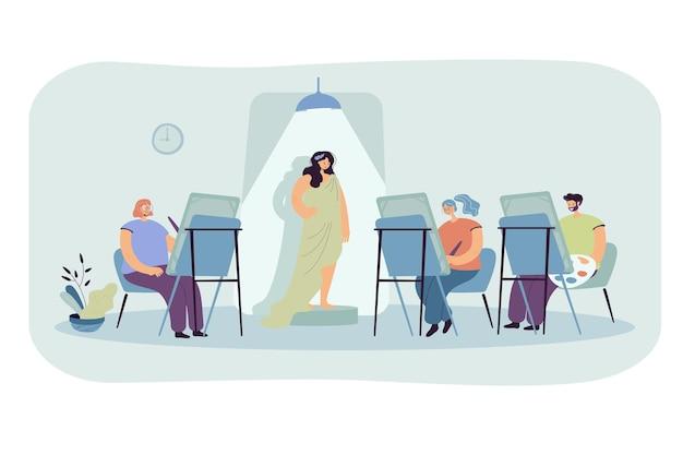 Frau, die für künstler aufwirft. leute malen bilder an staffeleien im studio-klassenzimmer. karikaturillustration