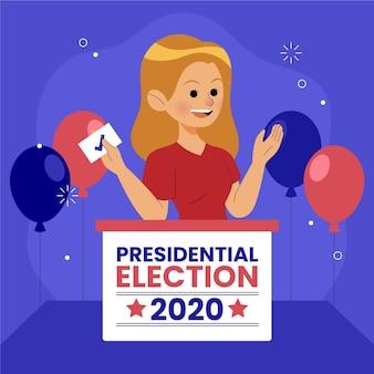 Frau, die für präsidentschaftswahlkonzept wählt
