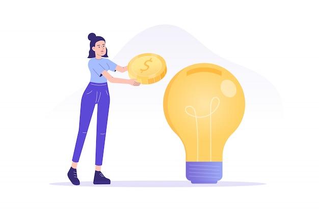 Frau, die geld in große idee oder unternehmensgründung investiert