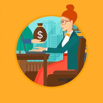 Frau, die geld vom online-geschäft verdient.