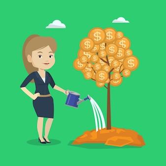 Frau, die geldbaum wässert.