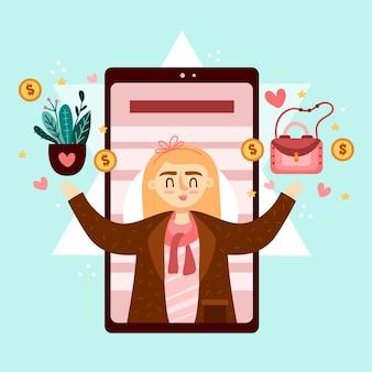 Frau, die geldbeutel hält und betriebsmarketing-handykonzept