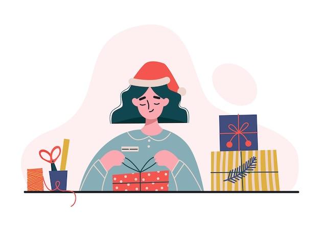 Frau, die geschenke macht und verpackt. frau, die kisten mit dekorativem papier einwickelt. männliche verpackungsgeschenke für weihnachten. flache illustration.
