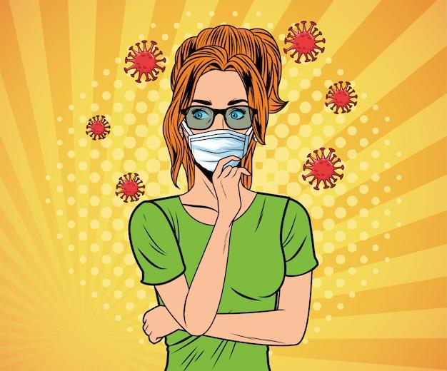Frau, die gesichtsmaske für covid19 pop-art-stil verwendet