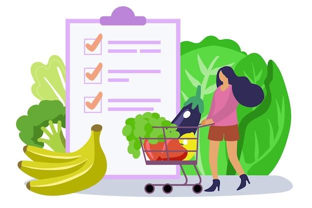 Frau, die gesunde lebensmittelliste wählt voller einkaufswagen und flache winzige person, die ausgewogene mahlzeiten isst