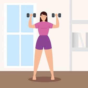 Frau, die gewichte im hausvektorillustrationsentwurf anhebt