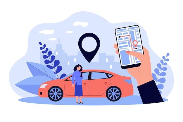 Frau, die gps-system in app auf ihrem handy lokalisierte flache illustration verwendet
