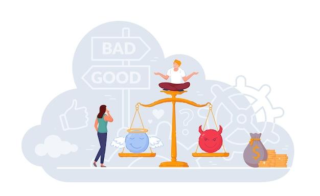 Frau, die gute und schlechte arbeit auf der waage der gerechtigkeit wählt. schwierige geschäftsentscheidung zwischen richtiger und falscher lösung, engel und teufel, gewissen und unehrlichkeitswert-vektorillustration