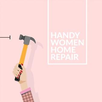 Frau, die hammer verwendet