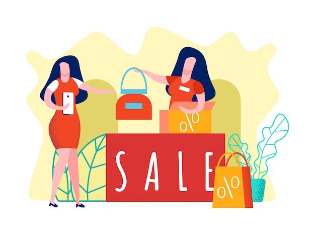 Frau, die handtaschen-illustration kauft