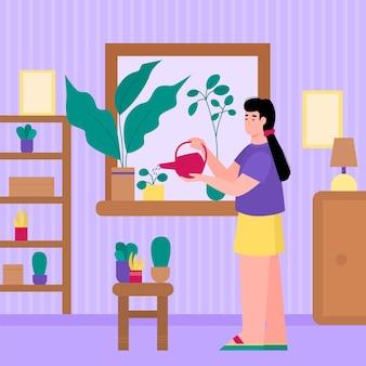 Frau, die heimische pflanzen als ihr hobby wässert