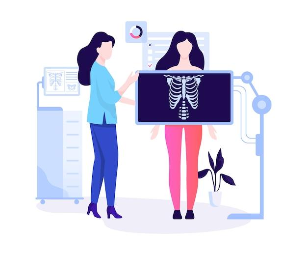 Frau, die hinter dem röntgenbild steht und die brust untersucht. menschlicher körper, skelett. idee der radiologie und des körperscans. illustration
