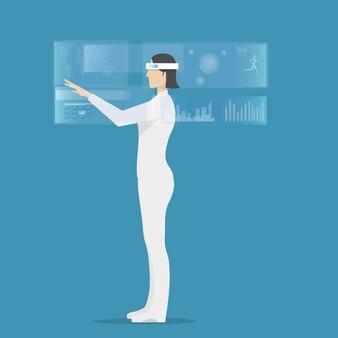 Frau, die hololens trägt, verwendet virtual-reality-anwendung.