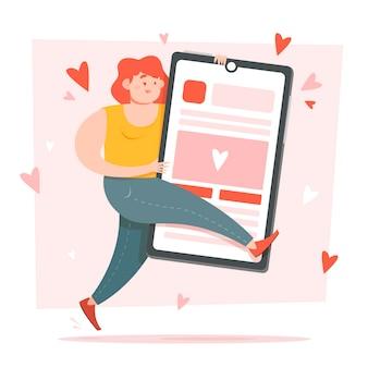 Frau, die ihr abstraktes konzept der social media-gemeinschaft umarmt