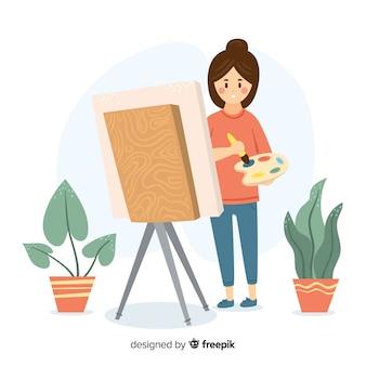 Frau, die ihr flaches design des hobbys genießt