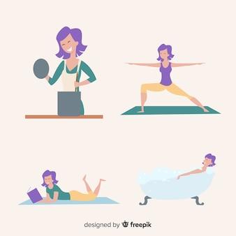 Frau, die ihre freizeit badet, liest, yoga übt und kocht