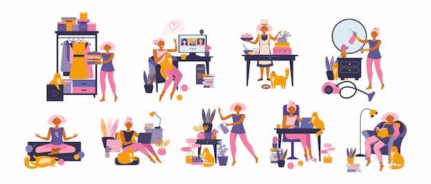 Frau, die ihre freizeit genießt, freizeitaktivitäten ausführt und hobbys macht - hausgarten, meditieren, buch lesen, kochen, freiberuflich, online lernen, putzen, mit einem haustier. zeit zu hause verbringen