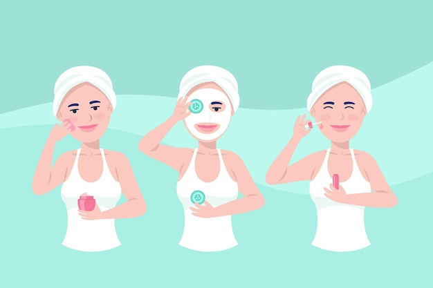 Frau, die ihre hautpflege-routine tut