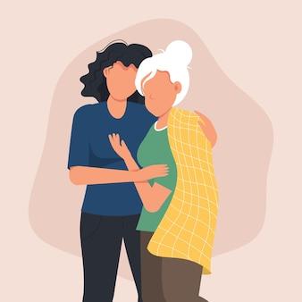 Frau, die ihre mutter umarmt.