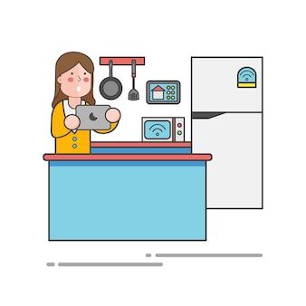 Frau, die ihre tablette im küchenvektor verwendet